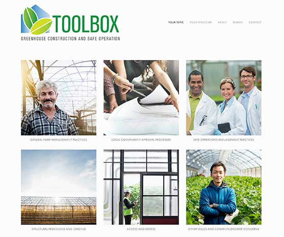 Toolbox for construction and safe operation of greenhouses