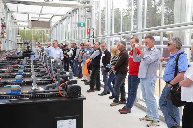 Scott Featherston of AIS Greenworks explained in detail how they fitted out the state of the art, hi-tech WSU glasshouse and it's eight growing chambers to PCA members.