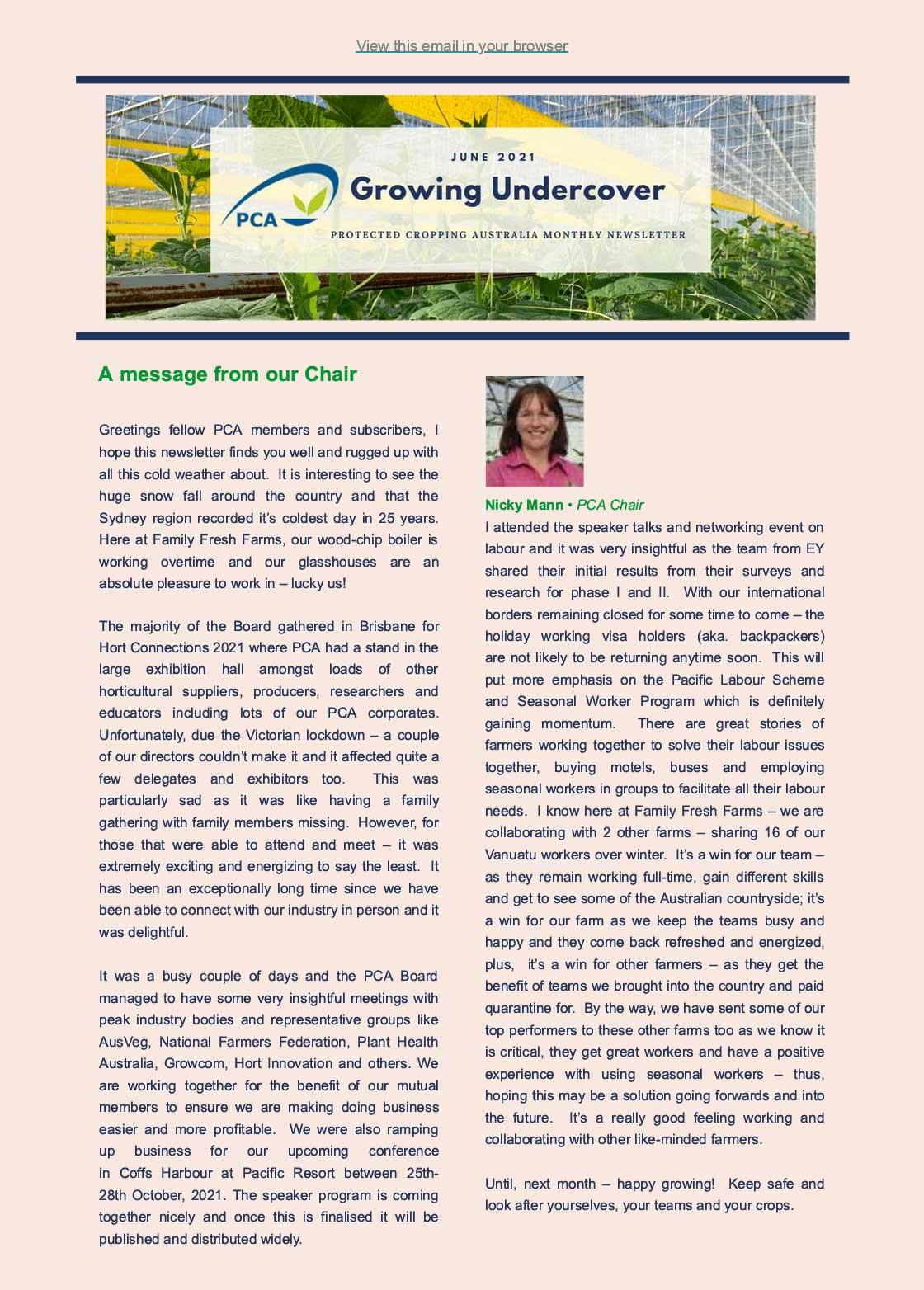 Under Cover Newsletter June 2021